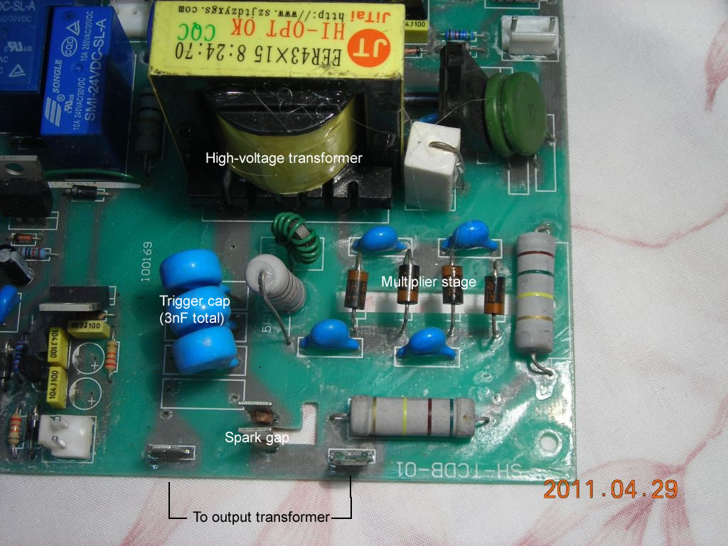 high voltage trigger and capacitor dumper hf hv start circuit in tig welder