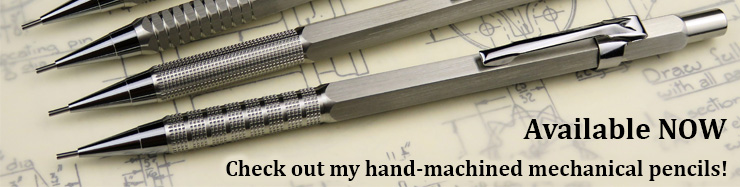 Hand machined mechanical pencils